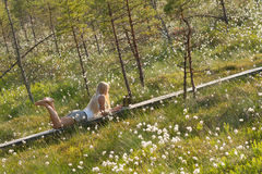 Young  woman working in nature Royalty Free Stock Images