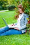 Young Woman Working On Laptop Royalty Free Stock Photo