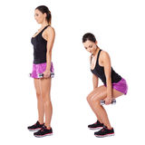 Young woman working out with barbells Royalty Free Stock Photos