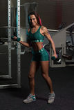 Young Woman Working Out Biceps With Dumbbells Stock Photo