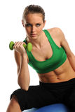 Young woman working out with dumbbell Royalty Free Stock Photo