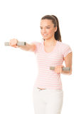 Young woman working out with dumbbells Stock Photography