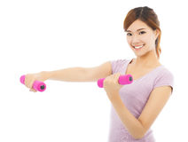Young woman working out with dumbbells isolated on white Royalty Free Stock Image