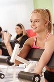 Young woman working out at the gym Stock Images