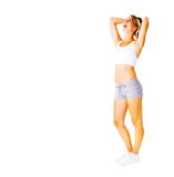 Young Woman Working Out On White Royalty Free Stock Photo
