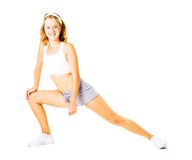 Young Woman Working Out On White Stock Images