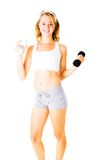 Young Woman Working Out On White Royalty Free Stock Image