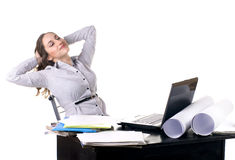 Young woman working and rest on computer Stock Images