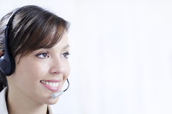 Young woman working and smiling Stock Photos