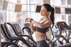 Young woman workout in gym healthy lifestyle stock image
