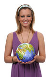 Young woman with world globe Royalty Free Stock Images