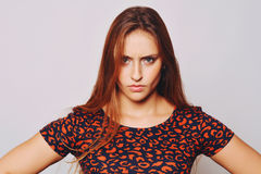 Young woman with worried expression Stock Photos