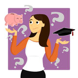 Young Woman Worries about Student Loans Stock Photography