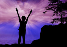 Woman praise the lord. Young woman worship and praise royalty free stock photo