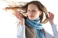 Young Woman Wrap Up Into Scarf Stock Photo
