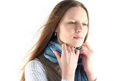 Young woman wrap up into scarf Royalty Free Stock Photo