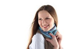 Young woman wrap up into scarf Stock Photography