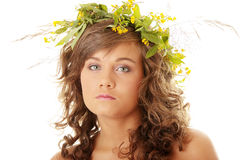 Young woman with a wreath Royalty Free Stock Photo