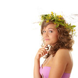 Young woman with a wreath Royalty Free Stock Images