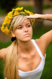 Young woman in wreath Royalty Free Stock Photo
