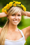 Young woman in wreath Stock Images