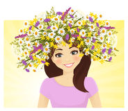 Young woman in wreath of wild  flower Stock Image