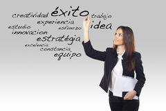 Young woman writing business spanish words Royalty Free Stock Photos