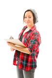 Young woman writing on clipboard isolated on white Stock Photos