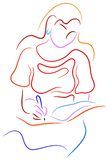 Young woman writing a notebook. Brush stroke line art work Royalty Free Stock Photography