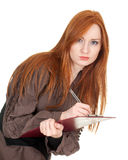 Young woman writing red clipboard Royalty Free Stock Photos