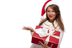 Young woman with an Xmas gift and money Stock Image