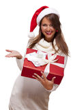 Young woman with an Xmas gift and money Stock Photography