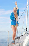 Young woman on the yacht. Picture of pretty young woman posing on the yacht Royalty Free Stock Photo