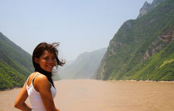 Young woman on Yangtze river Royalty Free Stock Image