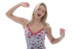 Young Woman Yawning Stock Photo