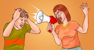 Young Woman Yelling Through Loud Speaker. A vector illustration of a Young Woman Yelling Through Loud Speaker Stock Images