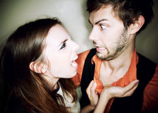 Young woman yelling at man Royalty Free Stock Images