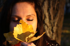 Young woman with yelllow leaves Royalty Free Stock Photo