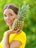 Young woman in yellow blouse Royalty Free Stock Image