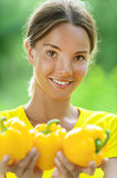 Young woman in yellow blouse Stock Photography