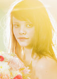 Young woman in yellow clor light Royalty Free Stock Photos