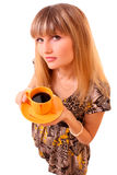 Young woman with yellow cup isolated Stock Photos