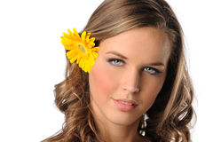Young Woman with Yellow Daisy Stock Images