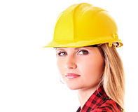Young woman with yellow helmet isolated Royalty Free Stock Image