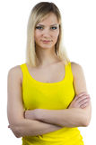 Young woman with yellow makeup arms crossed Royalty Free Stock Images
