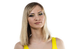 Young woman with yellow makeup Stock Photo