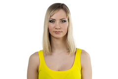 Young woman with yellow makeup Stock Image