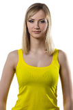 Young woman with yellow makeup Stock Photos