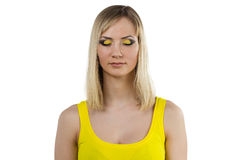 Young woman with yellow makeup Royalty Free Stock Image