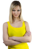 Young woman with yellow makeup Royalty Free Stock Photos